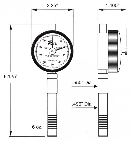 Model 2000 Max-Hand Durometer Outline
